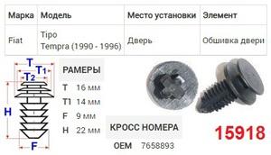 NAck 15918 Клипса   Обшив./молдин, 2 и более шляпок