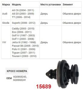 NAck 15689 Клипса   Обшив./молдин, 2 и более шляпок