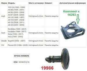 NAck 19986 ВИНТ   Поворотный A* / ST* / SK*SUP1 / VW*B5/B5+ панель защиты моторн.отсека  Металл, (жёлто-чёрн.) использ. с 16283