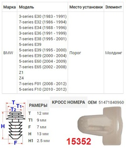 NAck 15352 Клипса   Обшив./молдин, 2 и более шляпок