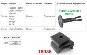 NAck 16036 ЗАКЛАДНЫЕ   Под поворотный винт TO* / LX* много моделей  Подкрылки (используется с винтом19056)