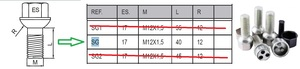 HEYNER 858.100 Болт   Колёсн./секрет. Антивор к-т  MB*A*  Тип SG