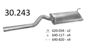 EDEX 30.243 Глушитель   Задн. часть VW*CD2 1.9 SDi 95- KAT/ST*INC